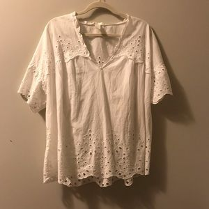 H&M White Eyelet Top